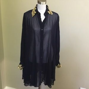 NWT $185 GOTTEX navy sheer Gold cover up tunic M L